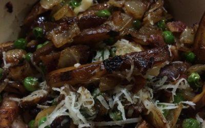 Shiitake, Bacon & Peas Pasta